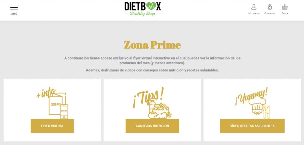 menú de zona prime dietbox